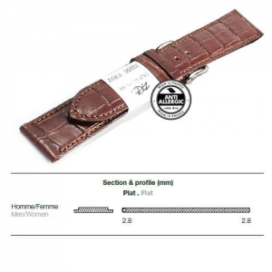 Ремешок кожаный ZRC 5492203ST-S MAT CALF ALLIGATOR BROWN 22MM